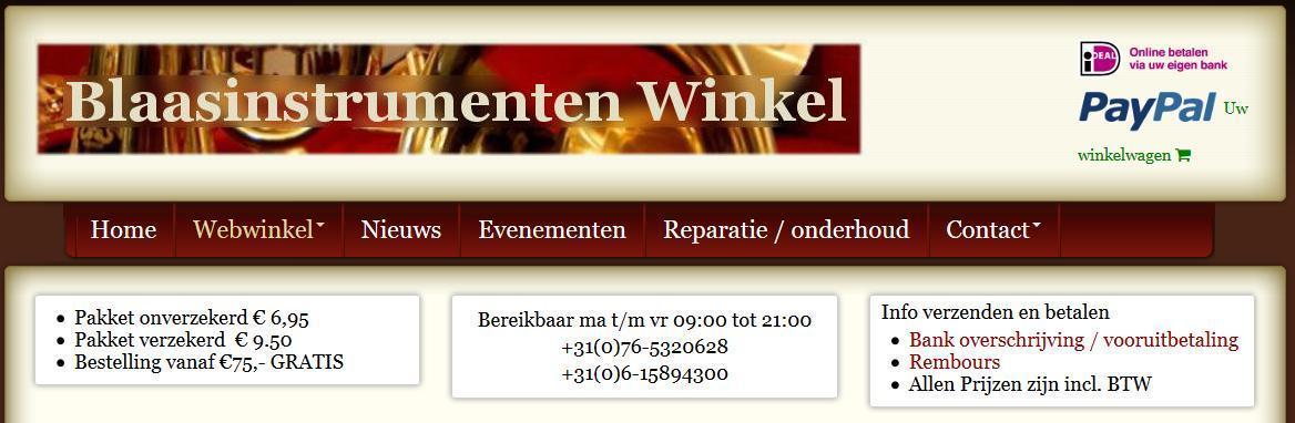 De Blaasinstrumenten Winkel - Webshop voor blaasinstrumenten