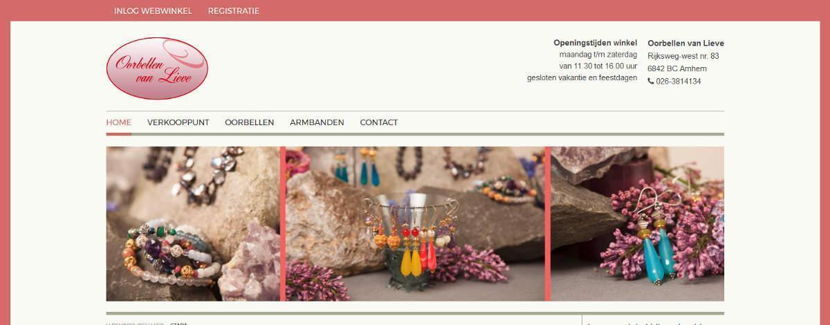 Joomla webwinkel Oorbellen van Lieve